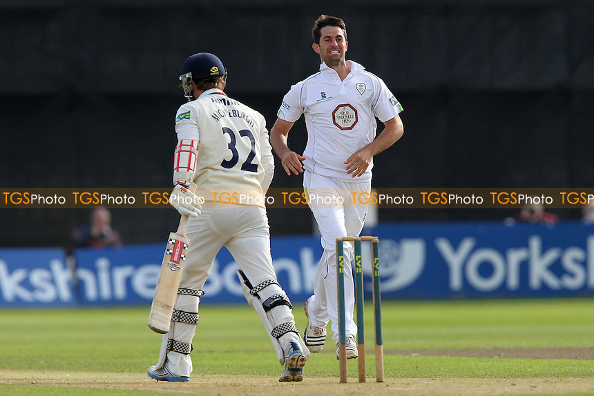 Tim Groenewald of Derbyshire celebrates the wicket of Jaik Mickleburgh - Derbyshire CCC vs Essex CCC - LV County Championship Division Two Cricket at the County Ground, Derby - 30/08/12 - MANDATORY CREDIT: Gavin Ellis/TGSPHOTO - Self billing applies where appropriate - 0845 094 6026 - contact@tgsphoto.co.uk - NO UNPAID USE.