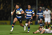 Anthony Watson of Bath Rugby gets past David Denton of Worcester Warriors. Aviva Premiership match, between Worcester Warriors and Bath Rugby on January 5, 2018 at Sixways Stadium in Worcester, England. Photo by: Patrick Khachfe / Onside Images