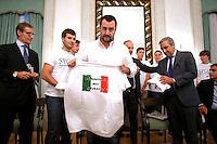 Matteo Salvini con la maglietta Marino No grazie<br /> Roma 24-09-2015 Incontro 'Per l'Italia - Ricostruiamo il centrodestra'.<br /> Photo Samantha Zucchi Insidefoto