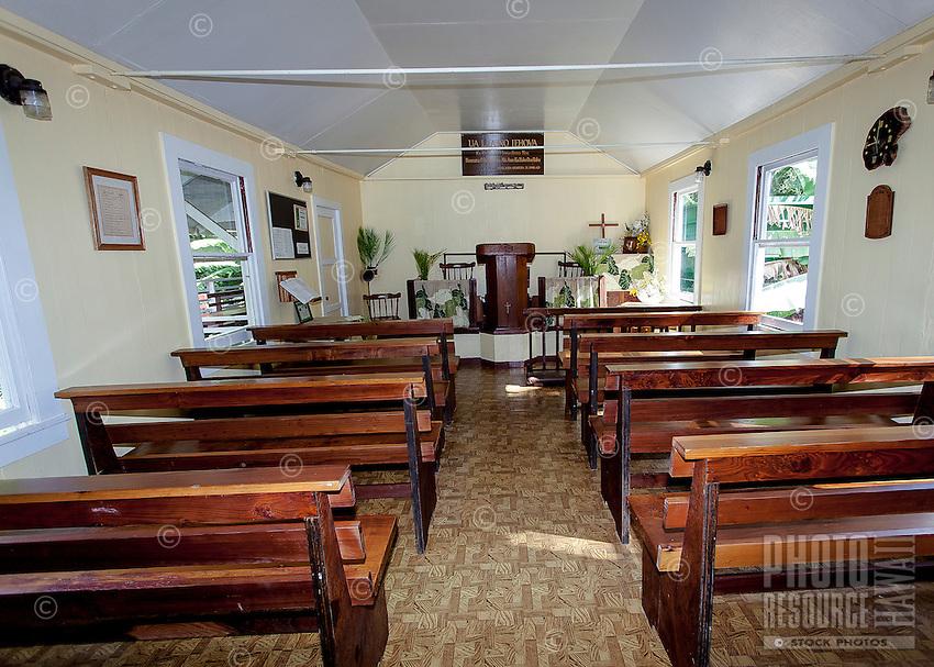 Inside view of little historic green church named Ierusalema Hou Church in Halawa, Moloka'i