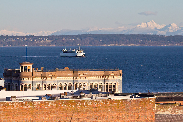 Port Townsend, overview, waterfront, Water Street, Washington State Ferry, Cascade Mountains, winter, Jefferson County, Pacific Northwest, Olympic Peninsula, Washington State,