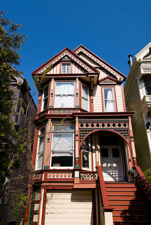 California: San Francisco. Victorian house in the Haight-Ashbury district. Photo copyright Lee Foster. Photo # 28-casanf79299