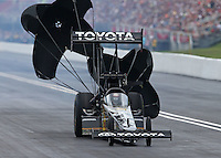 Jun 20, 2015; Bristol, TN, USA; NHRA top fuel driver Shawn Langdon during qualifying for the Thunder Valley Nationals at Bristol Dragway. Mandatory Credit: Mark J. Rebilas-USA TODAY Sports