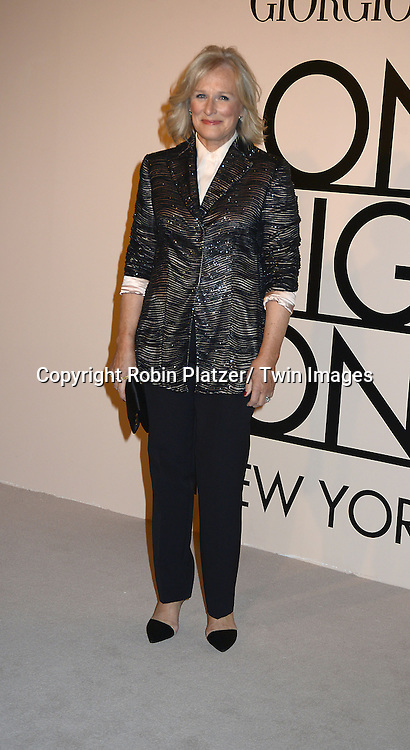 """Glenn Close attends  the Giorgio Armani """"One Night Only in New York"""" event on October 24, 2013 at Superpier in New York City."""
