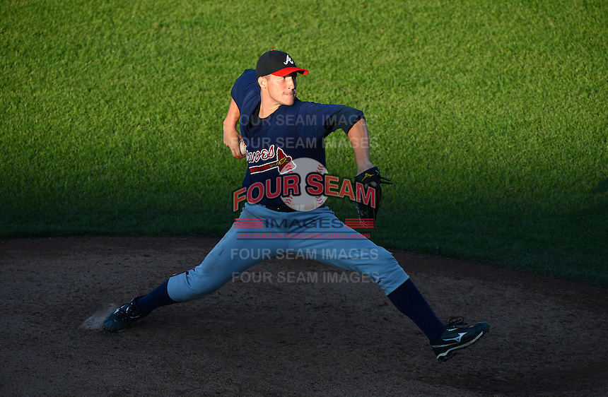 Pitcher Sean Reid-Foley (29) of Sandalwood High School in Jacksonville, Florida playing for the Atlanta Braves scout team during the East Coast Pro Showcase on August 1, 2013 at NBT Bank Stadium in Syracuse, New York.  (Mike Janes/Four Seam Images)