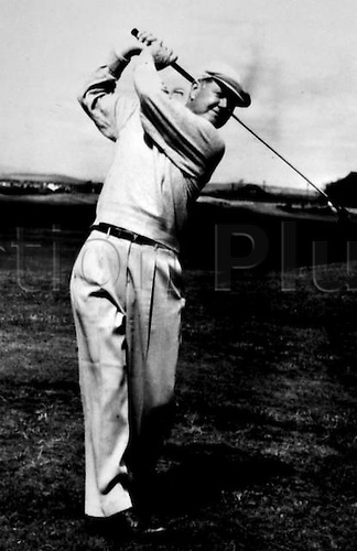 July Unknown Date. St Andrews Scvotland. Veteran American Golfer Byron Nelson drives off the new course at St Andrews 4th July