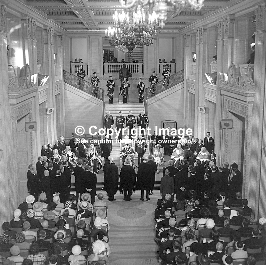 State Opening of the N Ireland Parliament, Stormont, Belfast, 22nd June 1971. The Queen is represented by the Governor of N Ireland, Lord Grey of Naunton, at the ceremony in the Great Hall.  This was the last State Opening as the N Ireland Parliament as it was suspended with the introduction of Direct Rule. It was subsequently abolished under the Northern Ireland Constitution Act 1973. 197106220270a<br />