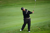 Kiradech Aphibarnrat of Thailand chips during Round 4 of the 2015 British Masters at the Marquess Course, Woburn, in Bedfordshire, England on 11/10/15.<br /> Picture: Richard Martin-Roberts | Golffile