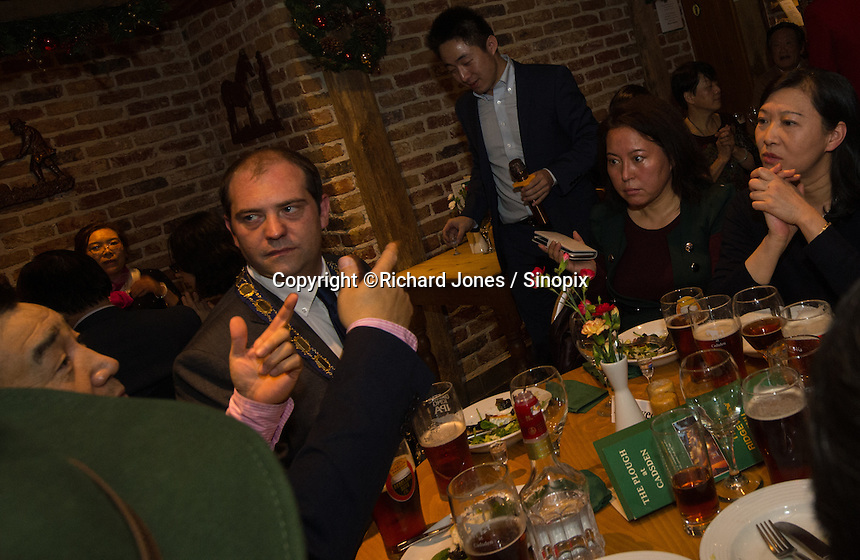 Matthew Walsh, Town Mayor & Chairman, Princes Risborough Town Council, at a party with members of the Chinese-UK Business Alliance in The Plough at Cadsden, Buckinghamshire. SinoFortone Group bought the pub after it was visited by Chinese Premiere Ji Jinping last year, and aim to develop  a chain of English-style pubs China.<br /> <br /> Photo by Richard Jones