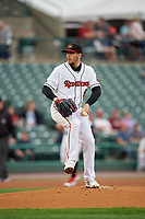 Rochester Red Wings starting pitcher Lewis Thorpe (52) during an International League game against the Buffalo Bisons on May 31, 2019 at Frontier Field in Rochester, New York.  Rochester defeated Buffalo 5-4 in ten innings.  (Mike Janes/Four Seam Images)