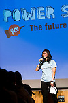 Emma Biermann speaks to the crowd during the opening session of Powershift UK. The UKYCC PowerShift Conference, held on Oct. 9-12, brought together over 250 young people from across the United Kingdom and the world to discuss climate change. The conference taught them how to  organize, build a social movement and take creative and intelligent action to tackle the climate crisis. Institute of Education, London, United Kingdom (2009 ©Robert vanWaarden)