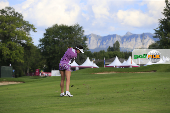 Sandra Gal (GER) plays her 3rd shot on the 15th hole during Friday's Round 2 of the LPGA 2015 Evian Championship, held at the Evian Resort Golf Club, Evian les Bains, France. 11th September 2015.<br /> Picture Eoin Clarke | Golffile