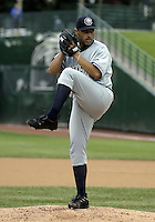 June 17, 2004:  Pitcher Carlos Reyes of the Columbus Clippers, International League (AAA) affiliate of the New York Yankees, during a game at Frontier Field in Rochester, NY.  Photo by:  Mike Janes/Four Seam Images