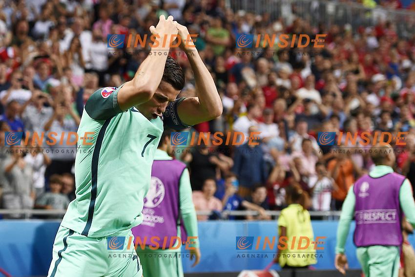 Cristiano Ronaldo celebrates scoring Esultanza Gol <br /> Lyon 06-07-2016 Stade de Lyon Football Euro2016 Portugal - Wales / Portogallo - Galles Semi-finals / Semifinali <br /> Foto Matteo Gribaudi  / Image / Insidefoto