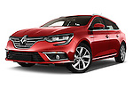 Stock pictures of low aggressive front three quarter view of 2016 Renault Megane-Grandtour Bose-Edition 5 Door wagon Low Aggressive