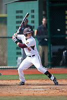 Erik Payne (5) of the Virginia Tech Hokies at bat against the Toledo Rockets at The Ripken Experience on February 28, 2015 in Myrtle Beach, South Carolina.  The Hokies defeated the Rockets 1-0 in 10 innings.  (Brian Westerholt/Four Seam Images)