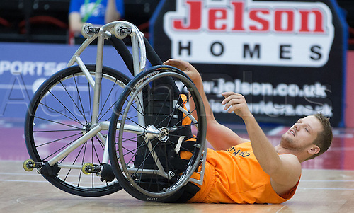 03.07.2016. Leicester Sports Arena, Leicester, England. Continental Clash Wheelchair Basketball Holland versus Australia. Marc van de Kuilen (NLD) knocked over during the match