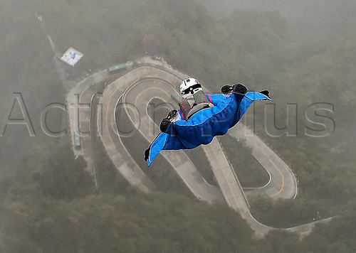 13.10.2016. Zhangjiajie, Hunan Province, China.  Ellen Brennan of the United States glides during the qualification of World Wingsuit League (WWL) China Grand Prix 2016 in Zhangjiajie,   Hunan Province, Oct. 13, 2016. Ellen Brennan is the only female wingsuit flier of this competition, who has completed over 750 wingsuit flyings.