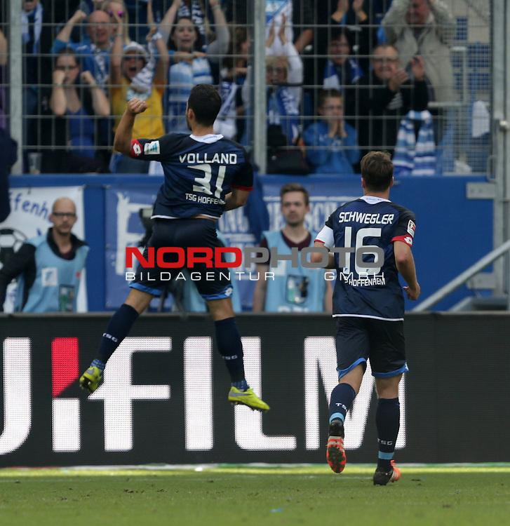 1. Liga  2015/2016, 08. Spieltag Hinrunde, TSG 1899 Hoffenheim vs. VfB Stuttgart<br /> Kevin Volland (Hoffenheim) jubelt nach seinem Tor zum 1:0<br /> <br /> Foto &copy; nordphoto /  Bratic