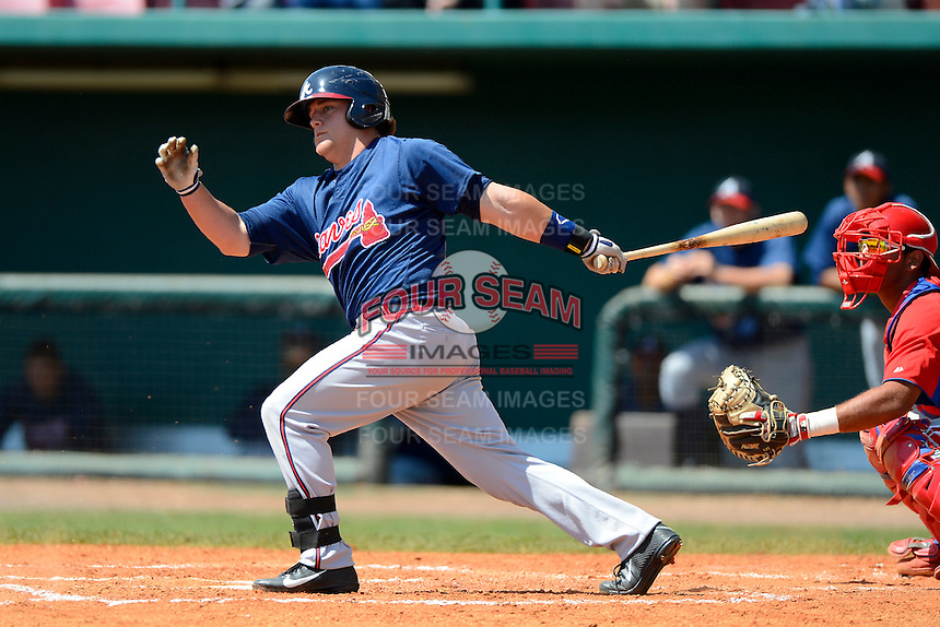 Atlanta Braves outfielder Josh Elander #60 during a minor league Spring Training game against the Philadelphia Phillies at Al Lang Field on March 14, 2013 in St. Petersburg, Florida.  (Mike Janes/Four Seam Images)
