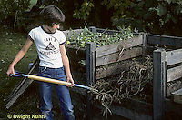 HS11-002z  Girl turning compost in compost bin