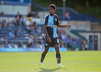 Goal scorer Jason Banton of Wycombe Wanderers gives the bench a thumbs up during the Sky Bet League 2 match between Wycombe Wanderers and Plymouth Argyle at Adams Park, High Wycombe, England on 12 September 2015. Photo by Andy Rowland.