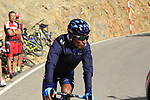 Nairo Quintana (COL) Movistar Team descends after finishing atop the final Cat 1 climb up to Observatorio Astrofisico de Javalambre during Stage 5 of La Vuelta 2019 running 170.7km from L'Eliana to Observatorio Astrofisico de Javalambre, Spain. 28th August 2019.<br /> Picture: Eoin Clarke | Cyclefile<br /> <br /> All photos usage must carry mandatory copyright credit (© Cyclefile | Eoin Clarke)