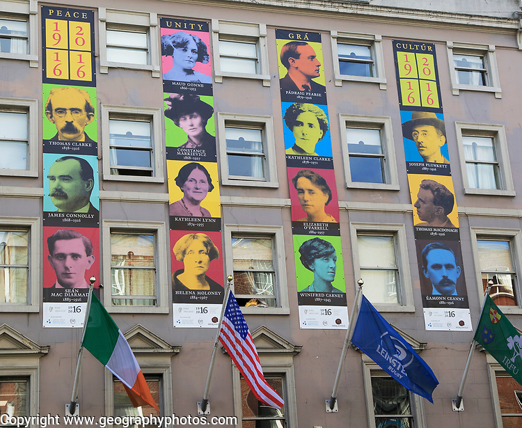 Faces of famous national heroes from 1916 uprising, Dublin, Ireland, Republic of Ireland