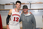 Wisconsin Badgers Duje Dukan (13) poses with Green Bay Packers quarterback Aaron Rodgers after  a regional semifinal NCAA college basketball tournament game against the Baylor Bears Thursday, March 27, 2014 in Anaheim, California. The Badgers won 69-52. (Photo by David Stluka)
