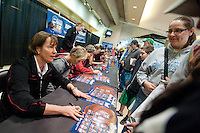INDIANAPOLIS, IN - APRIL 2, 2011: Head Coach Tara VanDerveer during the post-practice autograph session at Conseco Fieldhouse at the NCAA Final Four in Indianapolis, IN on April 1, 2011.