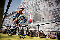 Bob Jungels (LUX/Deceuninck-Quick Step) rolling onto the spectacular start podium in the center square of the race start town of Antwerp.<br /> <br /> 103rd Ronde van Vlaanderen 2019<br /> One day race from Antwerp to Oudenaarde (BEL/270km)<br /> <br /> ©kramon
