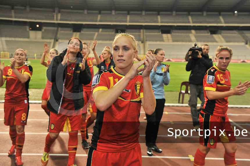 20130921 - BRUSSELS , BELGIUM : Belgian Janice Cayman pictured thanking the fans after the female soccer match between Belgium and Albania , on the first matchday in group 5 of the UEFA qualifying round to the FIFA Women World Cup in Canada 2015 at the Koning Boudewijn Stadion , Brussels . Saturday 21th September 2013. PHOTO DAVID CATRY