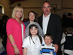 Katie Hayes from St Josephs school who recieved first holy communion at St Josephs Church Mell pictured with parents David and Donna, brother Alan and sister Sophie. Photo: Colin Bell/pressphotos.ie