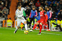 Real Madrid´s Jese Rodriguez and Sevilla's  during 2014-15 La Liga match between Real Madrid and Sevilla at Santiago Bernabeu stadium in Alcorcon, Madrid, Spain. February 04, 2015. (ALTERPHOTOS/Luis Fernandez) /NORTEphoto.com