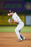 Brevard County Manatees second baseman George Iskenderian (7) throws to first during a game against the Fort Myers Miracle on April 13, 2016 at Hammond Stadium in Fort Myers, Florida.  Fort Myers defeated Brevard County 3-0.  (Mike Janes/Four Seam Images)