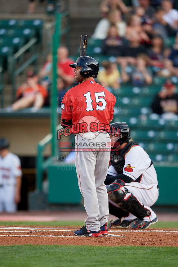 Pawtucket Red Sox second baseman Dustin Pedroia (15) at bat in front of catcher Wynston Sawyer (7) during a game against the Rochester Red Wings on May 19, 2018 at Frontier Field in Rochester, New York.  Rochester defeated Pawtucket 2-1.  (Mike Janes/Four Seam Images)