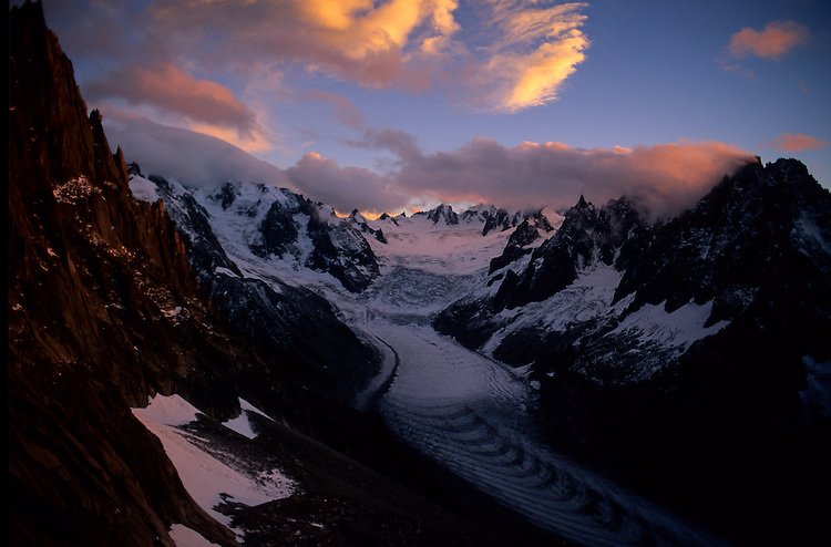 Mer de Glace stretches down into the night, Chamonix, France, 1997