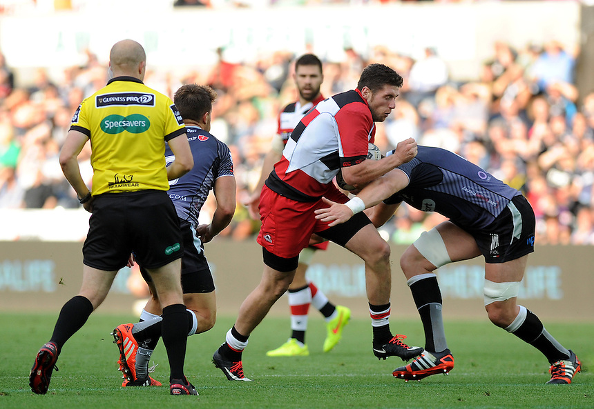 Edinburgh&rsquo;s Jack Cuthbert in action during today's match <br /> <br /> Photographer Ashley Crowden/CameraSport<br /> <br /> Rugby Union - Guinness PRO12 - Ospreys v Edinburgh Rugby - Sunday 21st September 2014 - The Liberty Stadium - Swansea<br /> <br /> &copy; CameraSport - 43 Linden Ave. Countesthorpe. Leicester. England. LE8 5PG - Tel: +44 (0) 116 277 4147 - admin@camerasport.com - www.camerasport.com