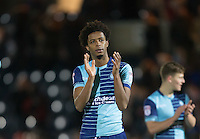 Sido Jombati of Wycombe Wanderers applauds the support after the Sky Bet League 2 match between Wycombe Wanderers and Newport County at Adams Park, High Wycombe, England on 2 January 2017. Photo by Andy Rowland.