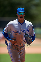 AZL Royals right fielder Gary Camarillo (16) jogs off the field between innings of an Arizona League game against the AZL Dodgers Lasorda on July 4, 2019 at Camelback Ranch in Glendale, Arizona. The AZL Royals defeated the AZL Dodgers Lasorda 4-1. (Zachary Lucy/Four Seam Images)