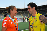 The Hague, Netherlands, June 15:  Maartje Paumen of The Netherlands talks with Kieran Govers #27 of Australia after the prize giving ceremony on June 15, 2014 during the World Cup 2014 at Kyocera Stadium in The Hague, Netherlands. (Photo by Dirk Markgraf / www.265-images.com) *** Local caption ***