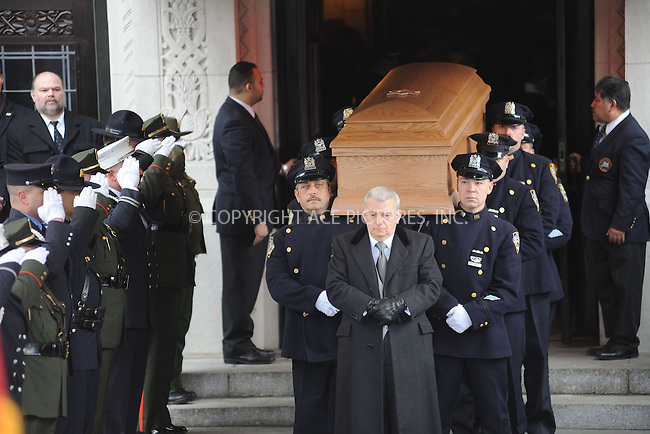 WWW.ACEPIXS.COM . . . . . .February 4, 2013...New York City....The casket of former New York City Mayor Ed Koch is brought out by members of the New York Police Department following funeral services at Manhattan's Temple Emanu-El on February 4, 2013 in New York City. The former New York mayor passed away on February 1, 2013 in New York City at age 88. Ed Koch was New York's 105th mayor and ran the city from 1978-89....Please byline: KRISTIN CALLAHAN - WWW.ACEPIXS.COM.. . . . . . ..Ace Pictures, Inc: ..tel: (212) 243 8787 or (646) 769 0430..e-mail: info@acepixs.com..web: http://www.acepixs.com .