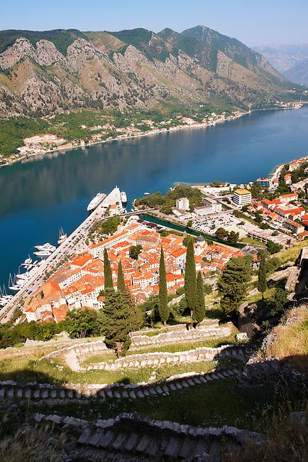 Arial view of Kotor roofs Montenegro - Kotor Bay
