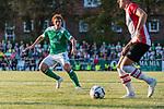 04.09.2018, Hoheellern-Stadion, Leer, GER, FSP, Werder Bremen (GER) vs FC Emmen (NED)<br /> <br /> DFL REGULATIONS PROHIBIT ANY USE OF PHOTOGRAPHS AS IMAGE SEQUENCES AND/OR QUASI-VIDEO.<br /> <br /> im Bild / picture shows<br /> Joshua Sargent (Werder Bremen #19) im Duell / im Zweikampf, <br /> <br /> Foto © nordphoto / Ewert