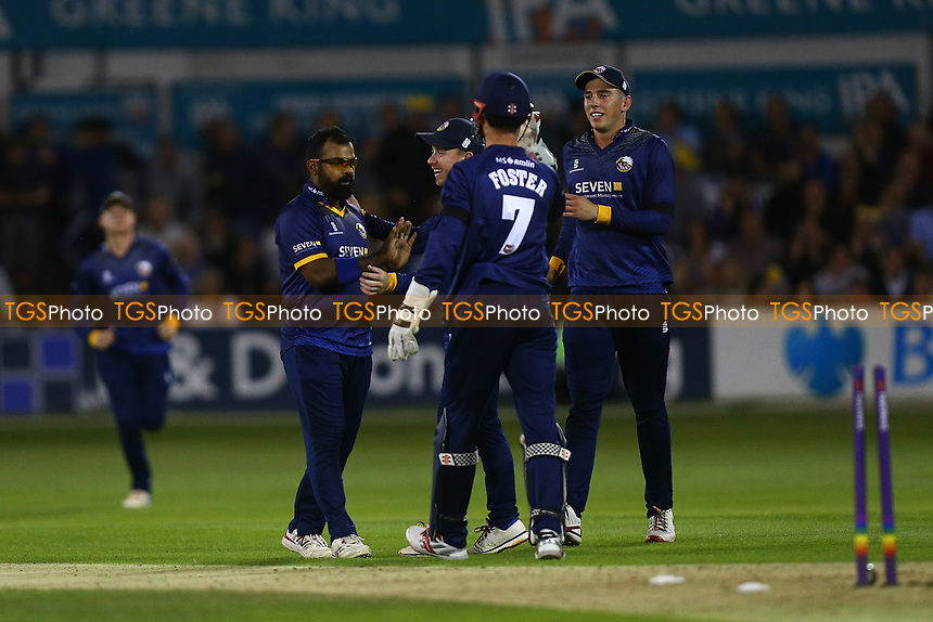Ashar Zaidi of Essex is congratulated by his team mates after taking the wicket of George Scott during Essex Eagles vs Middlesex, NatWest T20 Blast Cricket at The Cloudfm County Ground on 11th August 2017