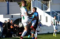 MARBELLA  - Voetbal, Club Brugge - FC Groningen, Trainingskamp , seizoen 2017-2018, 10-01-2018,  FC Groningen speler Lars Veldwijk  met Brandon Mechele