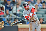 11 April 2012: Washington Nationals infielder Mark DeRosa in action against the New York Mets at Citi Field in Flushing, New York. The Nationals shut out the Mets 4-0 to take the rubber match of their 3-game series. Mandatory Credit: Ed Wolfstein Photo