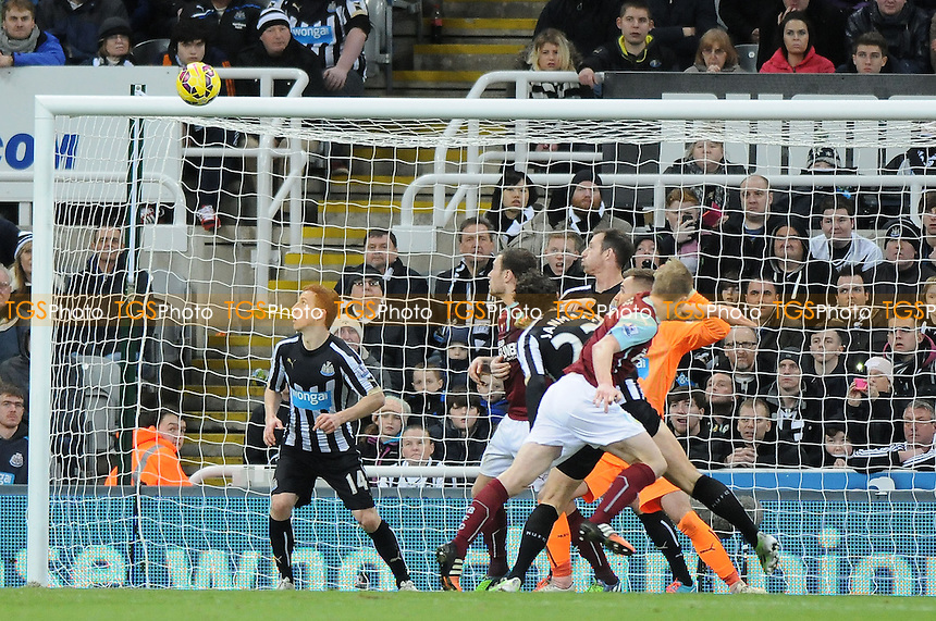 Ben Mee of Burnley hits the crossbar  - Newcastle United vs Burnley - Barclays Premier League Football at St James Park, Newcastle upon Tyne - 01/01/15 - MANDATORY CREDIT: Steven White/TGSPHOTO - Self billing applies where appropriate - contact@tgsphoto.co.uk - NO UNPAID USE