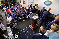 United States President Donald J. Trump walks away from the podium after speaking at a press conference with members of the coronavirus task force in the Brady Press Briefing Room of the White House on March 16, 2020 in Washington, DC.<br /> Credit: Oliver Contreras / Pool via CNP/AdMedia