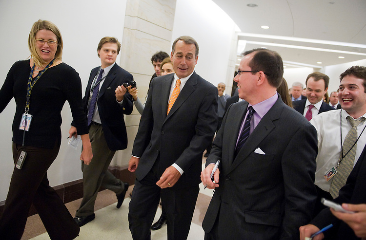 UNITED STATES - NOVEMBER 03:  House Minority Leader John Boehner, R-Ohio, talks with reporters after a news conference in the Capitol to discuss the Republican's agenda for the upcoming Congress.  Senate Minority Leader Mitch McConnell, R-Ky., and Gov. Haley Barbour, R-Miss., chairman of the Republican Governors Association, also attended.  (Photo By Tom Williams/Roll Call via Getty Images)